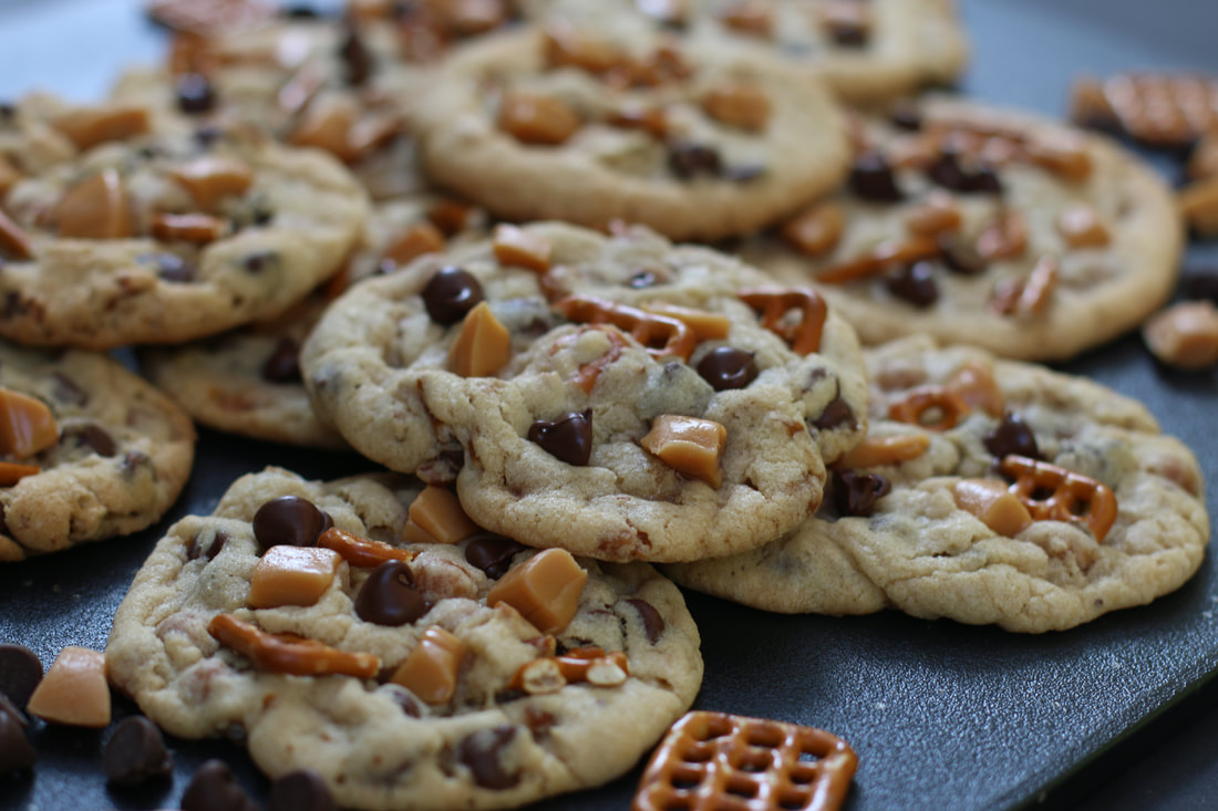 Brown butter toffee caramel pretzel chocolate chip cookies kitchen sink cookies